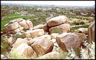 Surrealistically shaped ancient granite looks
