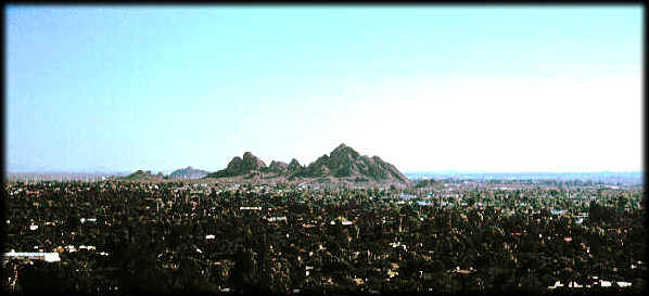 Looking southeast to the Papago Buttes in Papago Park, Phoenix, Arizona.