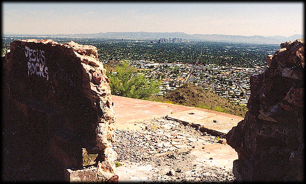 Looking south-southeast out over Phoenix, Arizona from the ruins of the Cloud Nine Restaurant on Shaw Butte.