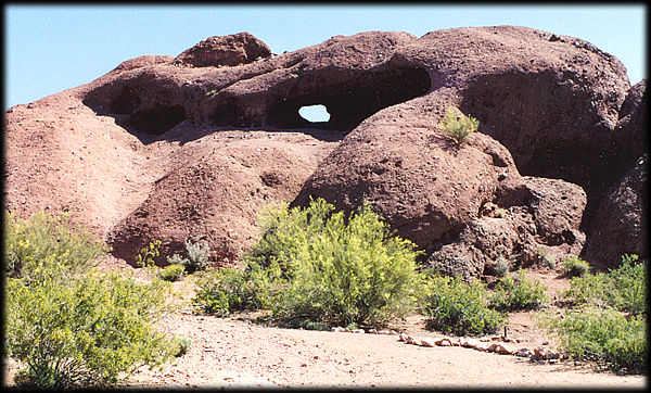 Hole in the Rock is a popular spot in Papago Park, Phoenix, Arizona.