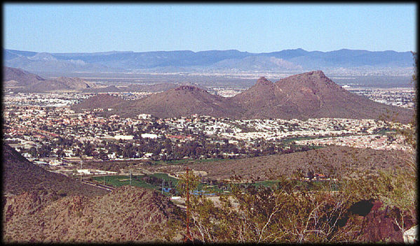Looking NE from North Mountain towards Lookout Mountain, with Black Mountain in the background.