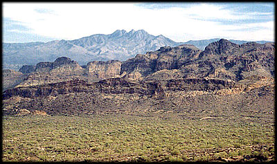 Four Peaks looms on the skyline east of Phoenix, Arizona.