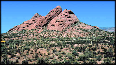 Tilted red bed formations of the Papago Buttes in Phoenix, Arizona.