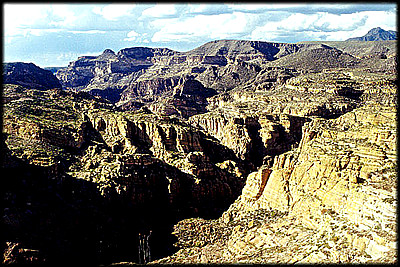 A maze of golden canyons makes travel through the Superstitions a true adventure. This view is from along the Apache Trail, aka State Route 88.