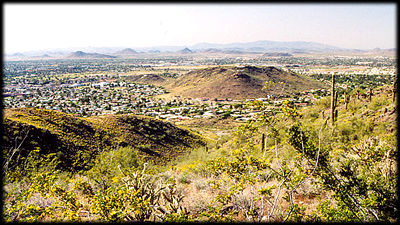 Basaltic Moon Hill, as seen from Shaw Butte, looking northwest, in Phoenix, Arizona.