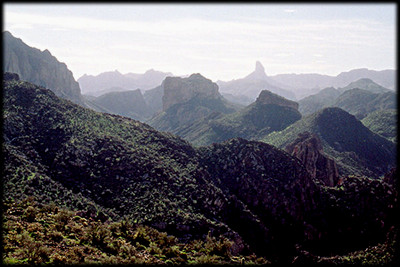 Looking deep into the heart of the Superstition Wilderness, near Phoenix, Arizona. Weaver's Needle is in the background.
