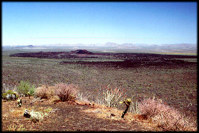 Recent basalt flows cover the desert north of Rocky Point, Mexico.
