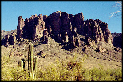 The classic view of Superstition Mountain, from the Lost Dutchman State Park, Arizona.