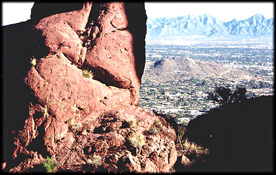 Missing time contact between granite and sandstone along Echo Canyon Trail on Camelback Mountain, in Phoenix, Arizona.