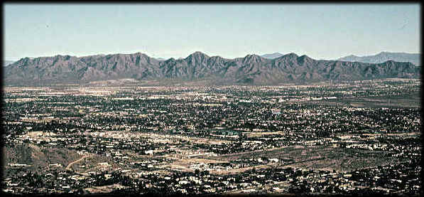 The McDowell Mountains loom above central Scottsdale, Arizona, in this view looking northeast.