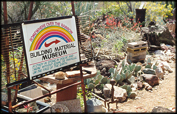 The entrance to Somewhere Over the Rainbow Museum and Rock Garden near Lookout Mountain, in Phoenix, Arizona.