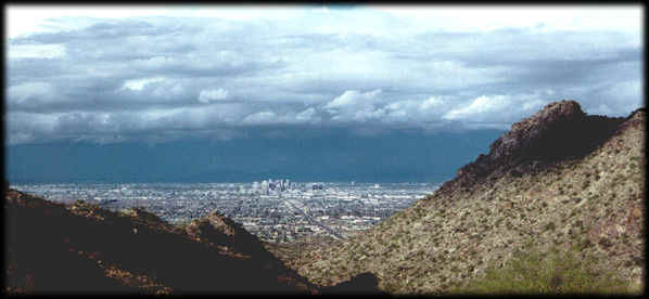 Downtown Phoenix, Arizona from South Mountain, looking north.
