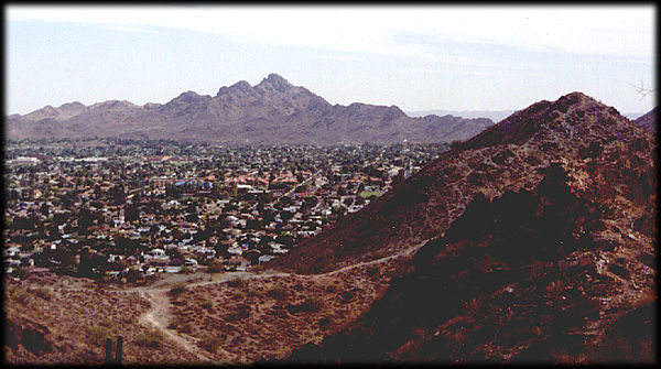 Looking south from Shadow Mountain in Phoenix, Arizona towards Squaw Peak and the Phoenix Mountains.