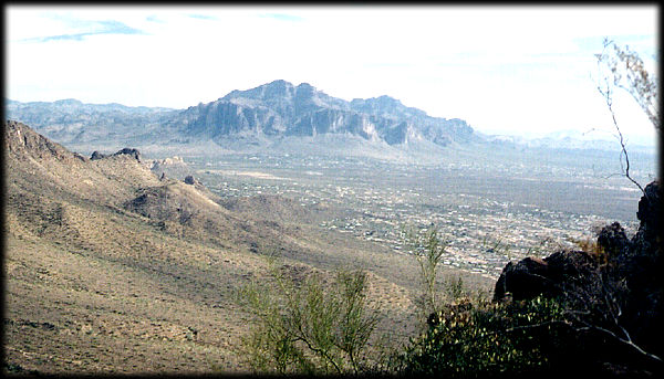 Superstition Mountain, near Apache Junction, Arizona, as seen from the Usery Mountains, looking southeast.