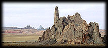 Volcanic spires are among the scenery in beautful Monument Valley, in the Navajo Nation.