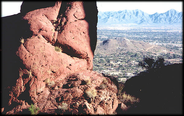 More than one billion years of time is represented by the contact between Tertiary rocks and Precambrian rocks on Camelback Mountain, in Phoenix, Arizona.