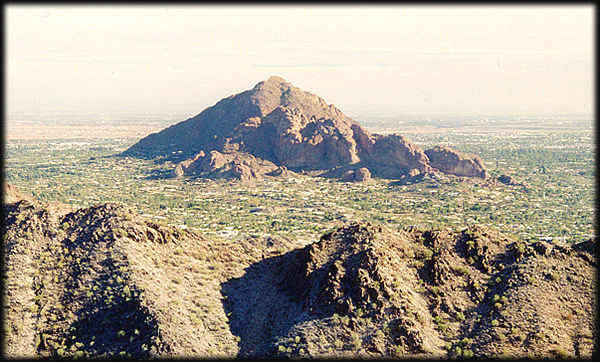 The west end of Camelback Mountain, from Squaw Peak, in the Phoenix Mountains Preserve.