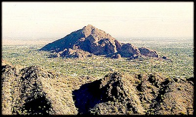Camelback Mountain, from the summit of Squaw Peak, in Phoenix, AZ.